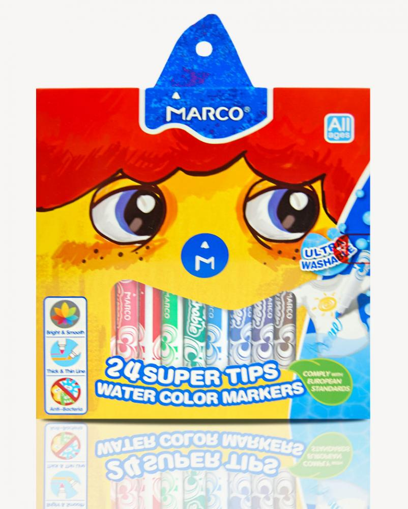 "Фломастеры Super Washable 24 цвета в кор.- ТМ ""Marco"" - 1630-24CB"
